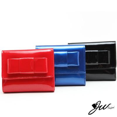 J-W-甜糖果漆皮硬版蝴蝶結短夾-共6色-黑-藍-紅