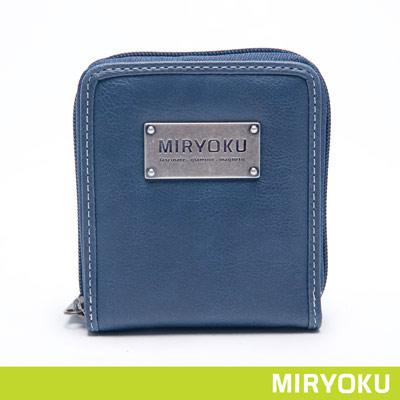 MIRYOKU-自然休閒系列-隨性休閒拉鍊短夾-藍