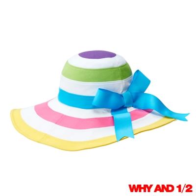 WHY AND 1/2 女童 花漾彩條遮陽帽 黃色