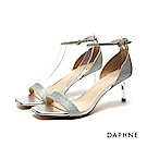 達芙妮DAPHNE 涼鞋-亮片金蔥/漆皮一字方頭高跟涼鞋-銀