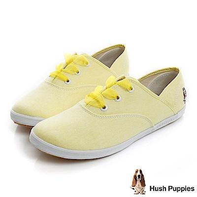 Hush Puppies 緞帶蝴蝶結咖啡紗帆布鞋-淺黃色