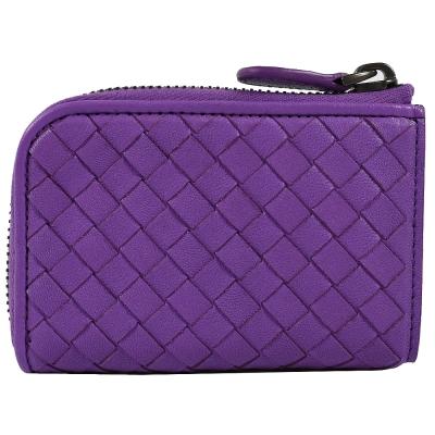 BOTTEGA VENETA 經典編織L型拉鍊鑰匙錢包(紫)
