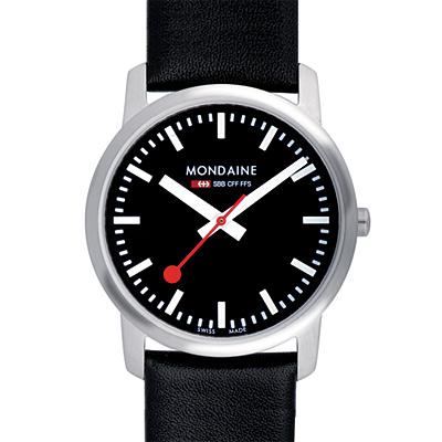Mondaine 瑞士國鐵藍寶石水晶薄型腕錶-黑/36mm