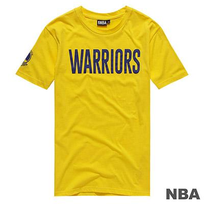 NBA-金州勇士隊字母印花短T-黃 (男)
