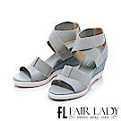 Fair Lady 玩色鬆緊繞帶草編楔型涼鞋 藍