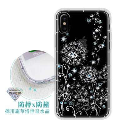 浪漫彩繪 iPhone X 水鑽空壓氣墊手機殼(風信子)