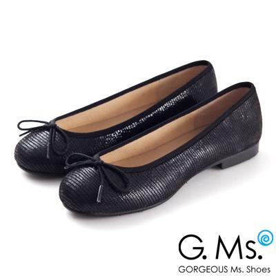 G.Ms. MIT系列-全真皮蝴蝶結蜥蝪紋芭蕾舞鞋- 蜥蝪黑