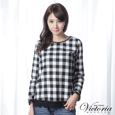 Victoria 格紋拼接蕾絲長袖T-女-黑白格
