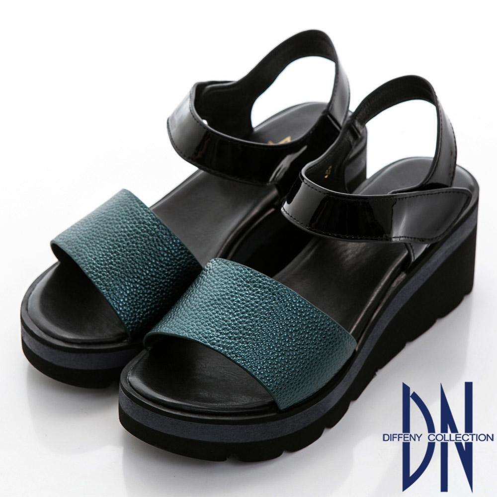 DN 都會休閒 舒適真皮一字厚底楔型涼鞋-藍綠