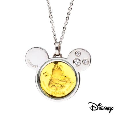 Disney迪士尼金飾 可愛維尼寶貝黃金/白鋼項鍊