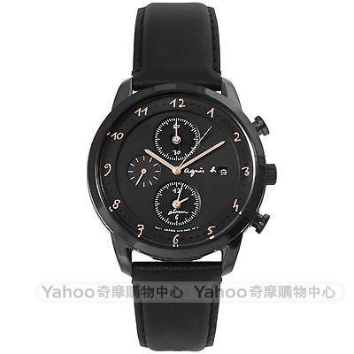 agnes b. 簡約手繪時標時尚計時真皮手錶(BY6005P1)-黑/39mm