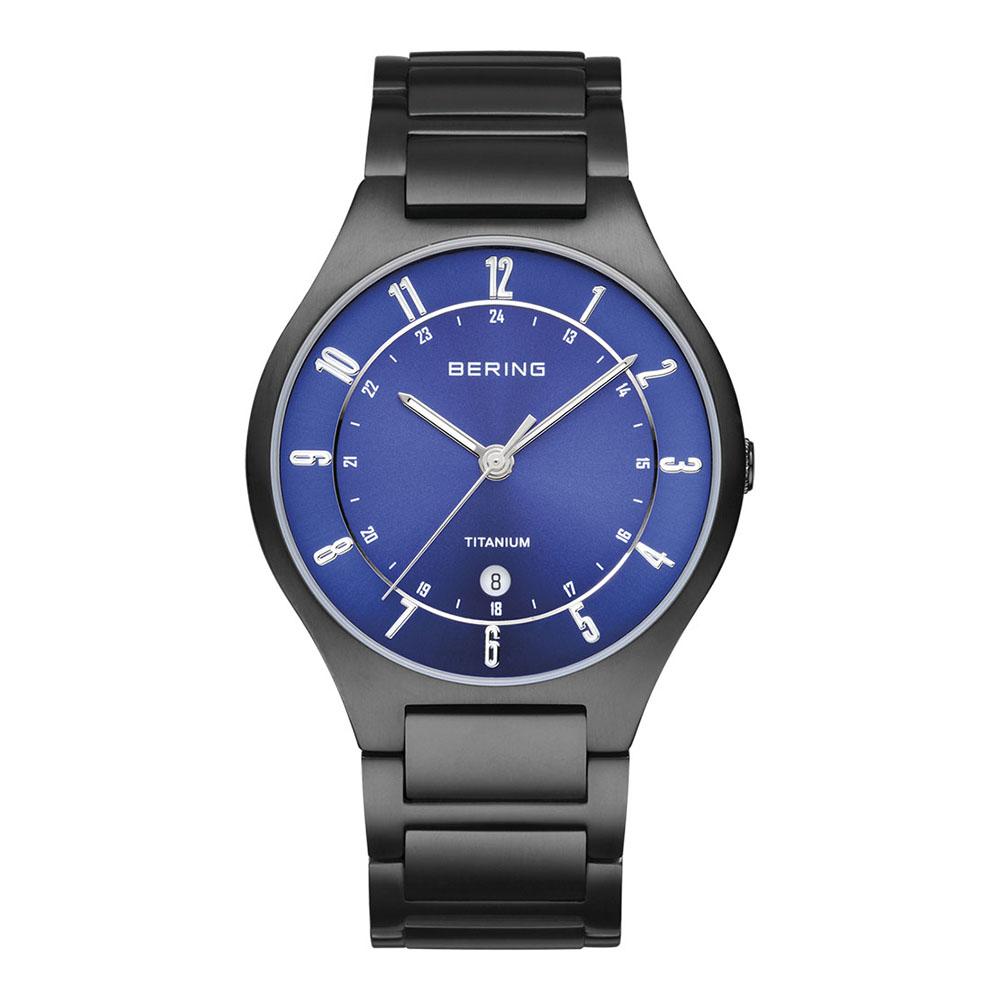 BERING丹麥精品手錶 日期顯示鈦合金屬錶系列 黑x北歐藍39mm