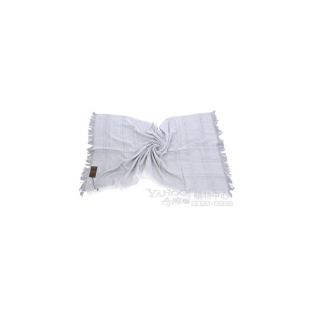 GUCCI 雙G織紋綴飾格紋圍巾(灰色)
