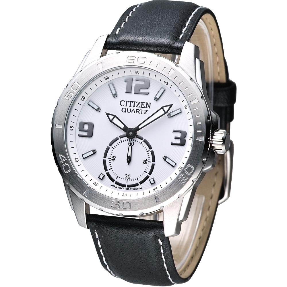 CITIZEN 魅力小秒針都會腕錶(AO3010-05A)-白/40mm