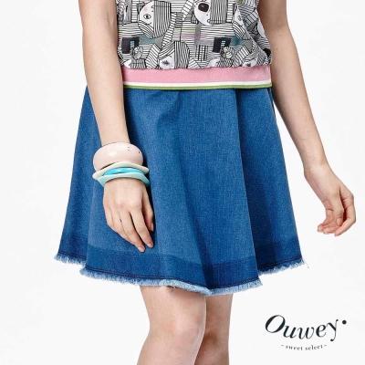 OUWEY歐薇-流蘇邊圓展牛仔短裙-藍