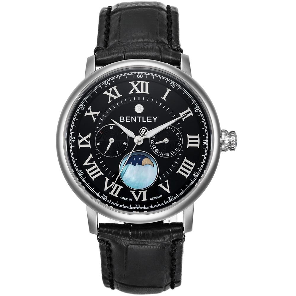 BENTLEY 賓利 Denarium系列 羅馬星辰風尚手錶-黑x黑/42mm