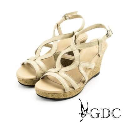 GDC-素面羅馬踝帶軟木跟楔型涼鞋-杏色