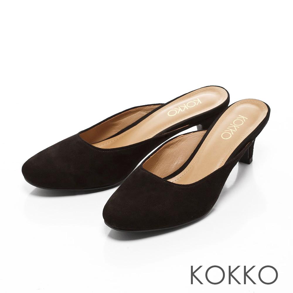 KOKKO-復刻經典羊麂皮小貓跟穆勒鞋-實搭黑