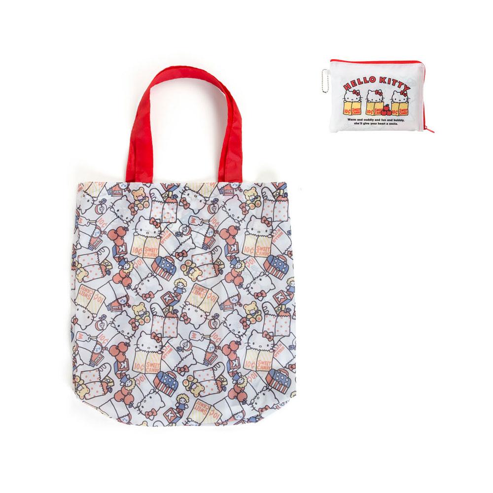 Sanrio HELLO KITTY滿版圖案環保購物袋(生活小物白)