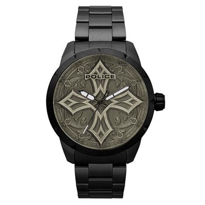 POLICE  十字硬漢時尚腕錶-黑色x槍色/48mm