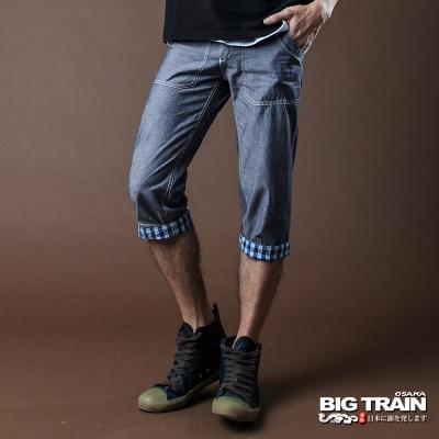 BIG TRAIN-七分反摺褲-灰藍