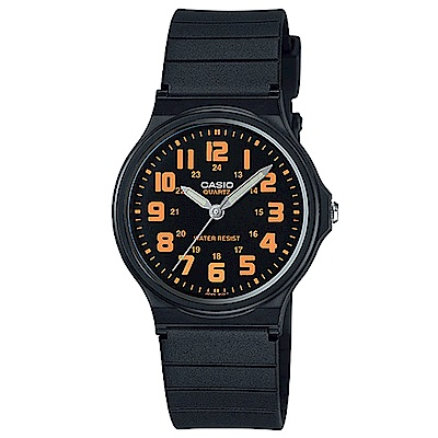 CASIO 簡約時尚魅力指針腕錶(MQ-71-4B)-黑盤橘字/34.9mm