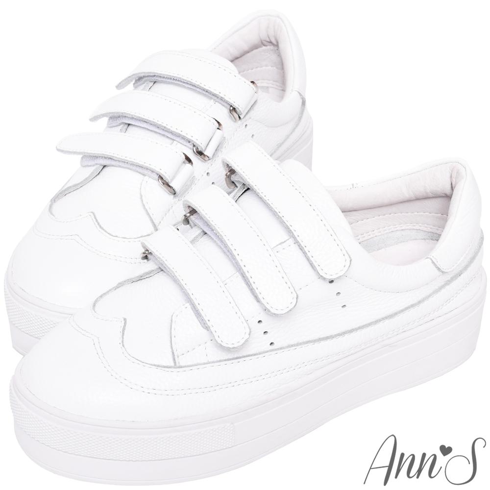 Ann'S激瘦第三代!!!全真牛皮魔鬼氈厚底小白鞋-白