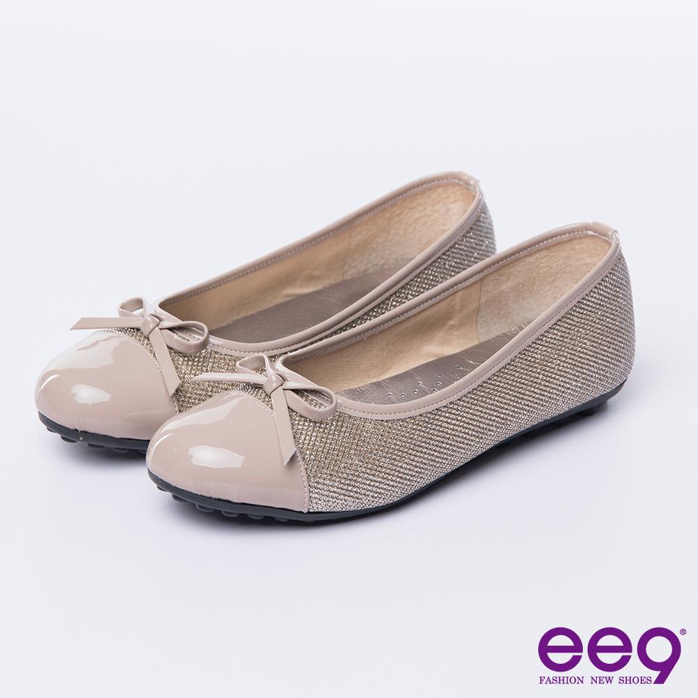 ee9 MIT經典手工~都會優雅異材質併接蝴蝶結豆豆娃娃鞋*咖色