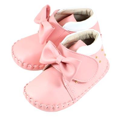 Swan天鵝童鞋-菱格紋大蝴蝶結寶寶鞋 1534-粉