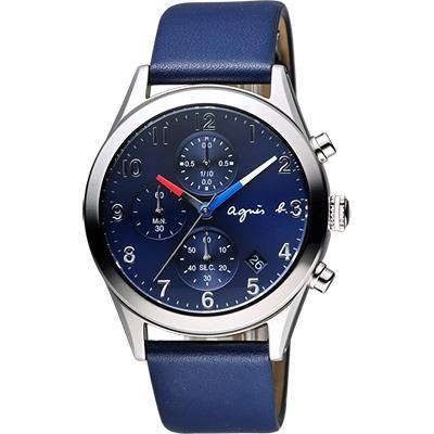 agnes b. 巴黎城市風尚計時腕錶(BM3009X1)-藍/40mm