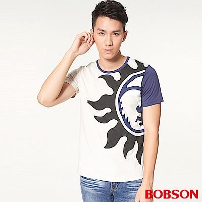 BOBSON 男款造型圖印上衣