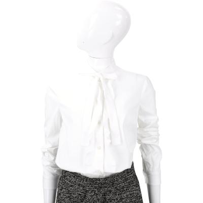 RED VALENTINO 白色蝴蝶結飾領長袖襯衫