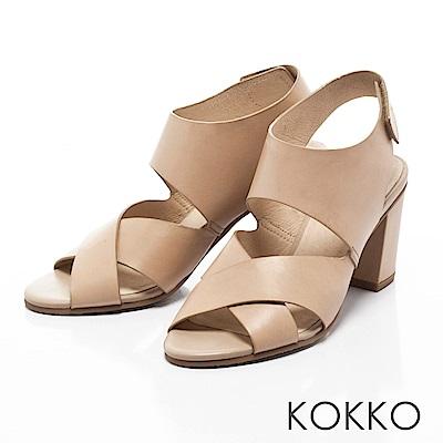 KOKKO -品味左岸情調交叉帶粗跟涼鞋-卡布其諾棕