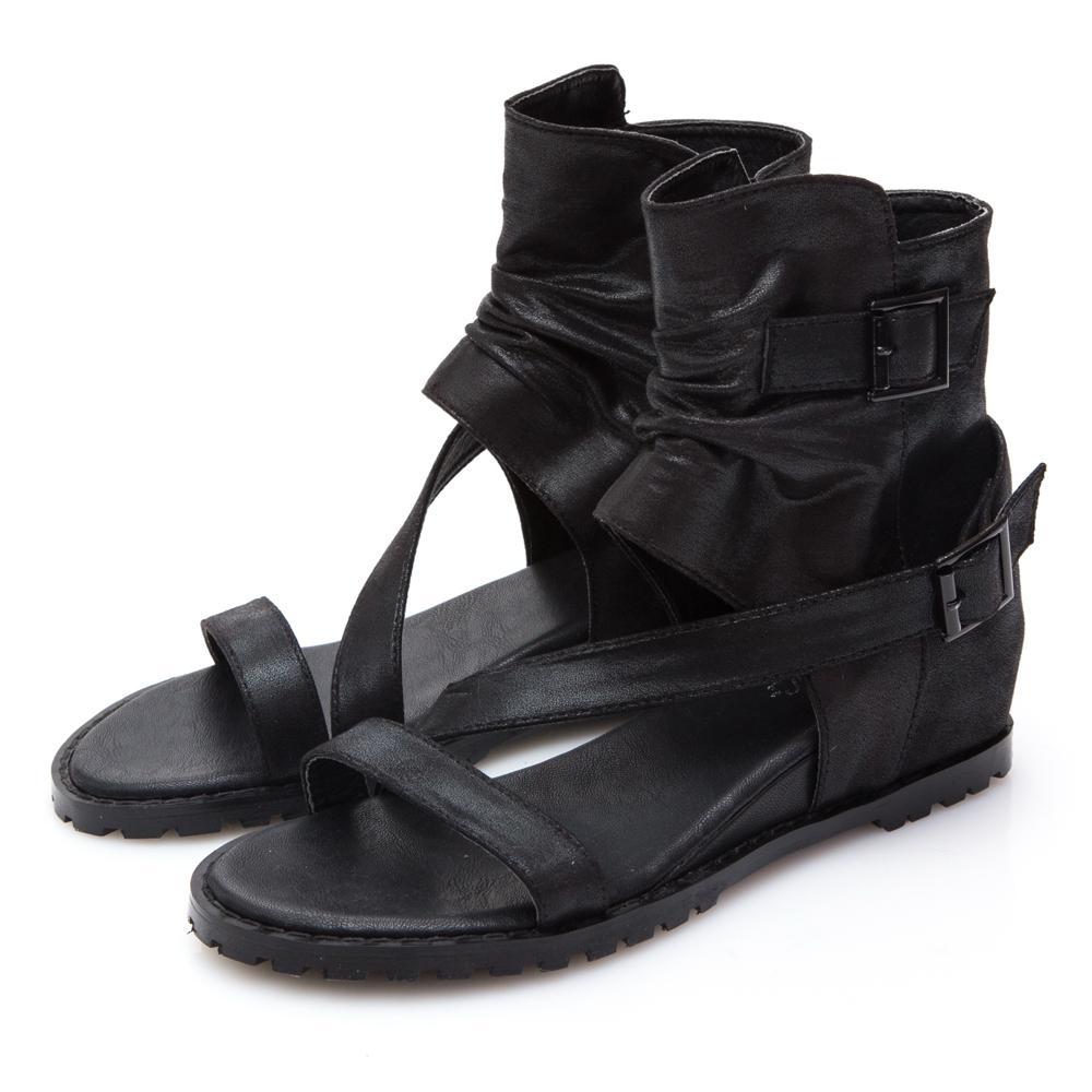 JMS-斜帶搭扣靴型內增高羅馬涼鞋-黑色