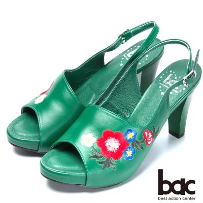 bac流行時尚 花朵刺繡造型高跟涼鞋-綠