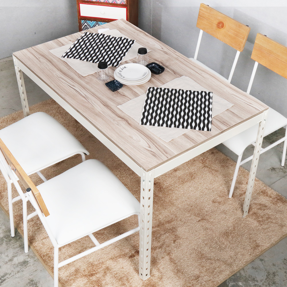 H&D 角鋼美學-工業風免鎖角鋼餐桌/工作桌-2色(122x76x75cm)