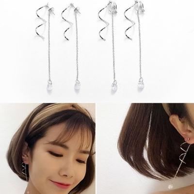 梨花HaNA無耳洞韓國水晶流轉漩渦耳環夾式