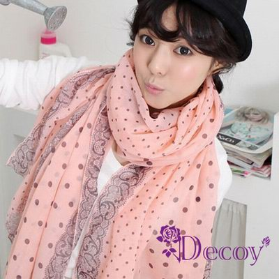 Decoy 蕾絲點點 雙色棉柔圍巾 粉