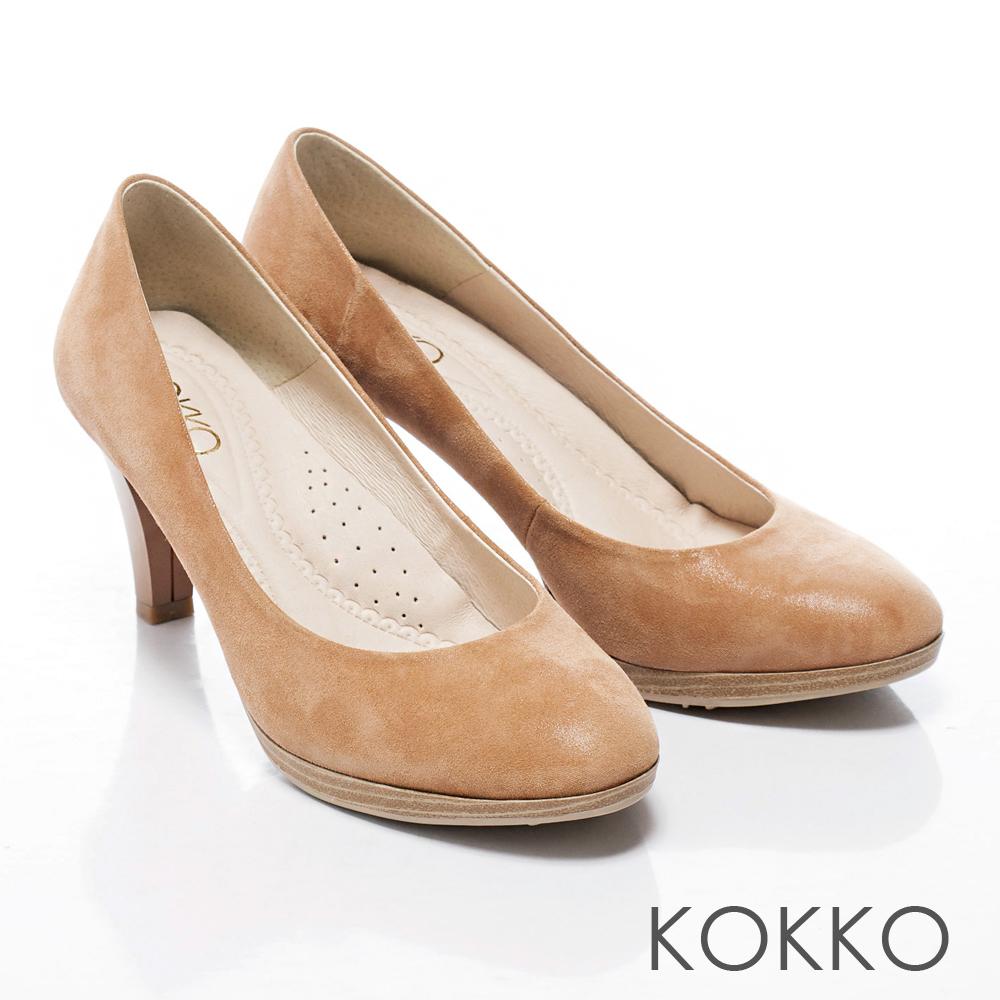 KOKKO經典手工‧馬卡龍舞曲光澤羊皮中跟鞋 - 駝
