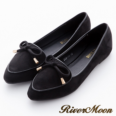 River&Moon加大尺碼-韓版細絨金綴朵結滾邊尖頭樂福鞋-黑
