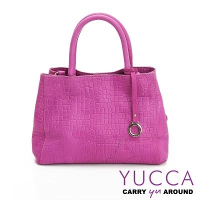 YUCCA -熱銷鱷魚紋牛皮氣質甜美手提包-紫紅色 D0103073C76