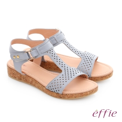 effie 嬉皮假期 真皮超輕透氣夏色涼拖鞋 淺藍色