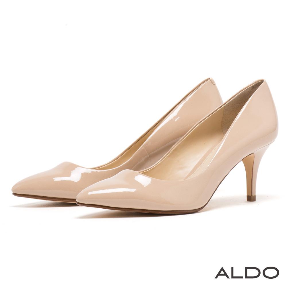 ALDO 經典百搭款原色系弧形流線尖頭高跟鞋~氣質象牙