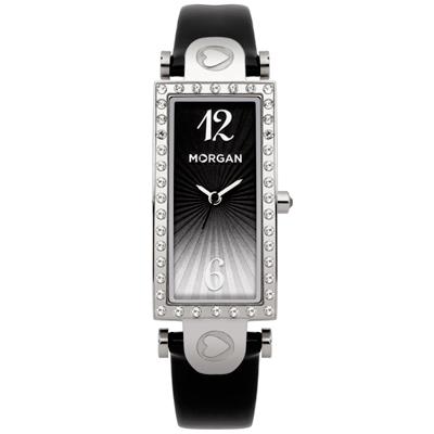 MORGAN 古典方型鑽時尚腕錶-銀x黑37mmX18mm