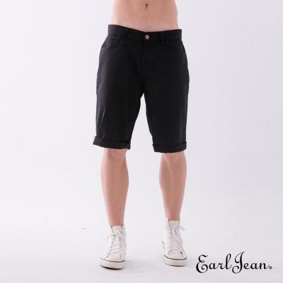 Earl Jean 素色合身舒適休閒短褲-黑色-男