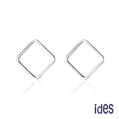 ides愛蒂思 日韓風潮個性時尚925純銀耳環/幾何方形