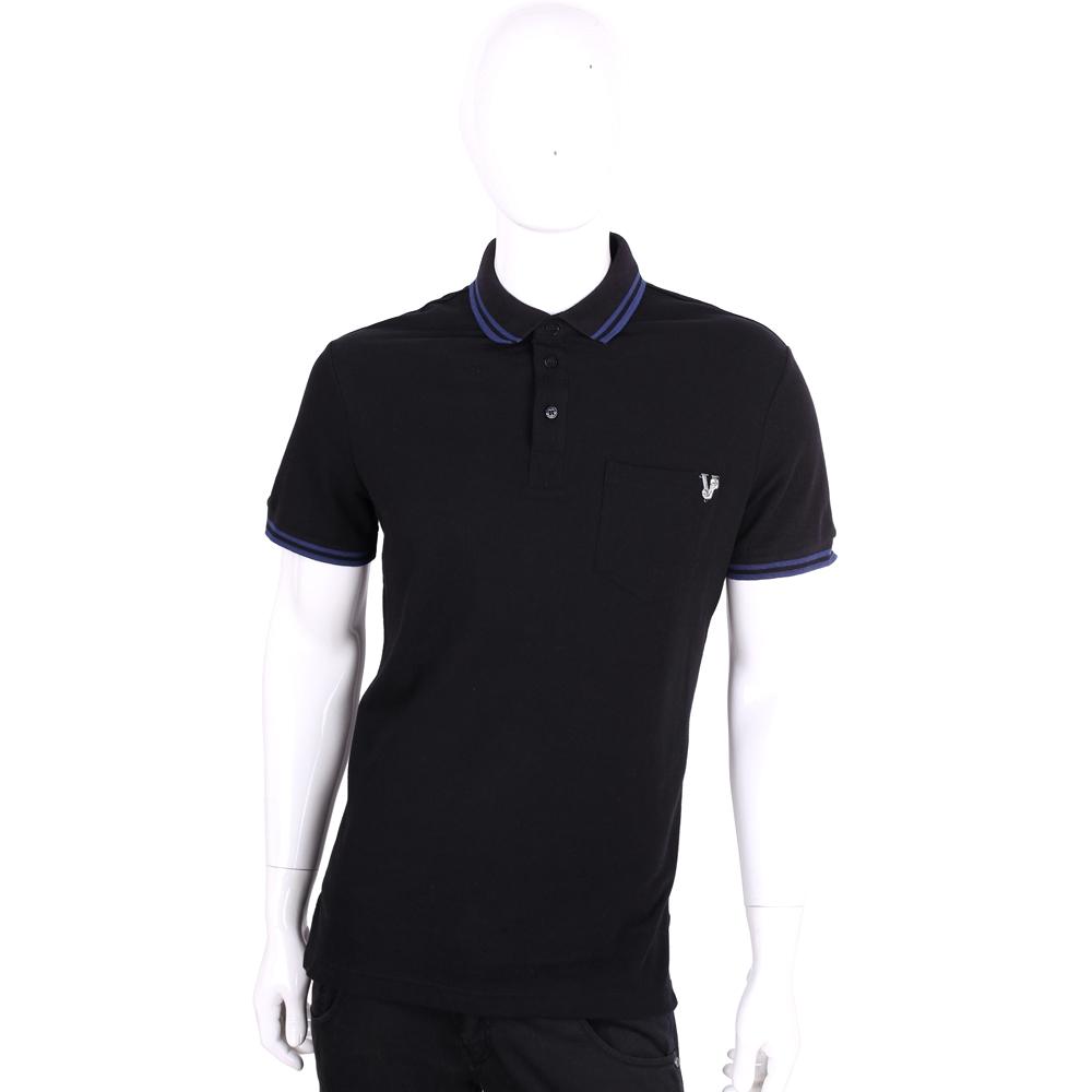 VERSACE 黑色品牌圖騰刺繡短袖POLO衫