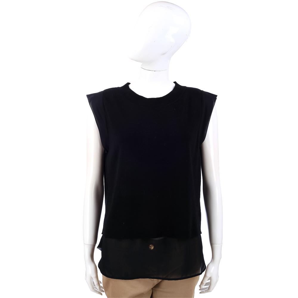 PHILOSOPHY 拼接材質設計上衣(黑色)