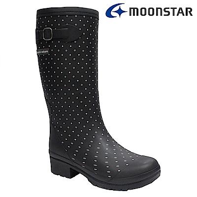 Moonstar日本 女 長筒保暖雨靴 (黑)