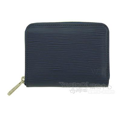 LV【M60384】經典EPI皮革造型水波紋系列拉鍊零錢包(深藍)